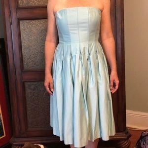 Tiffany blue strapless dress by Calvin Klein